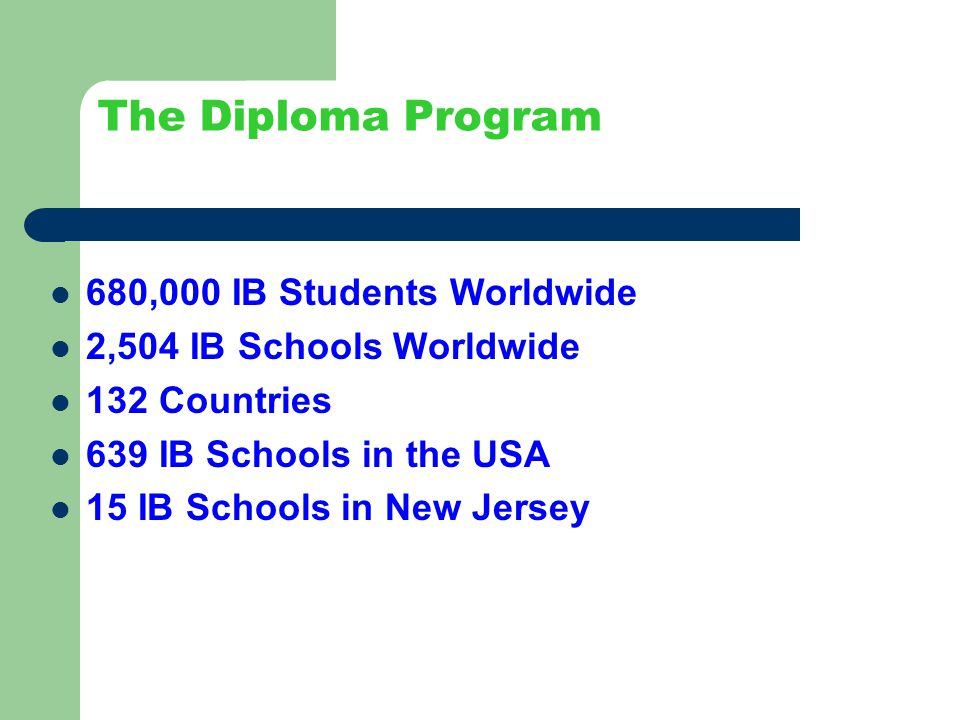 The Diploma Program 680,000 IB Students Worldwide 2,504 IB Schools Worldwide 132 Countries 639 IB Schools in the USA 15 IB Schools in New Jersey