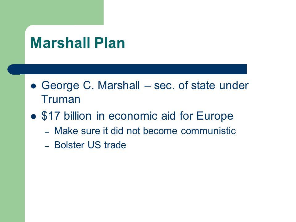 Marshall Plan George C. Marshall – sec.