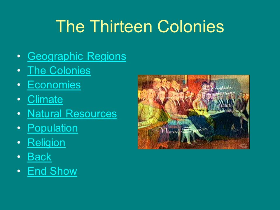 The Thirteen Colonies Geographic Regions The Colonies Economies Climate Natural Resources Population Religion Back End Show