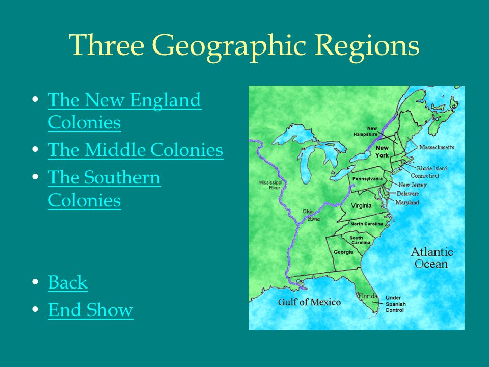 The Southern Colonies Colonies : In contrast to the New England and middle colonies were the rural southern colonies of Virginia, Maryland, North and South Carolina, and Georgia.VirginiaMarylandNorthSouth CarolinaGeorgia People : The populations in the southern colonies were diverse and consisted of many European nationalities.