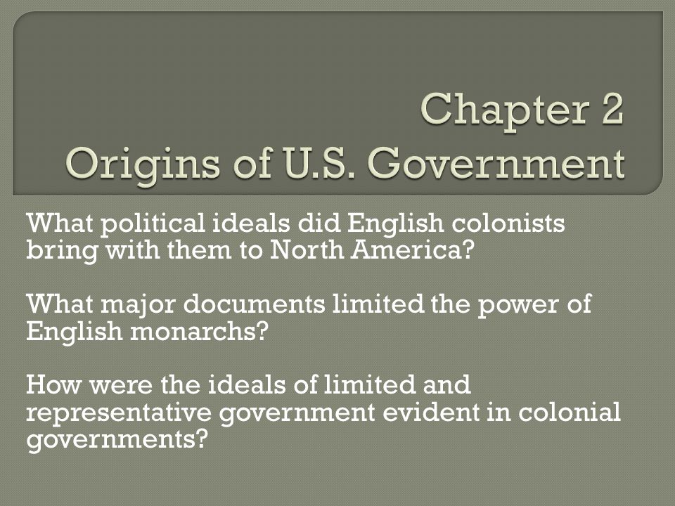 What political ideals did English colonists bring with them to North America? What major documents limited the power of English monarchs? How were the