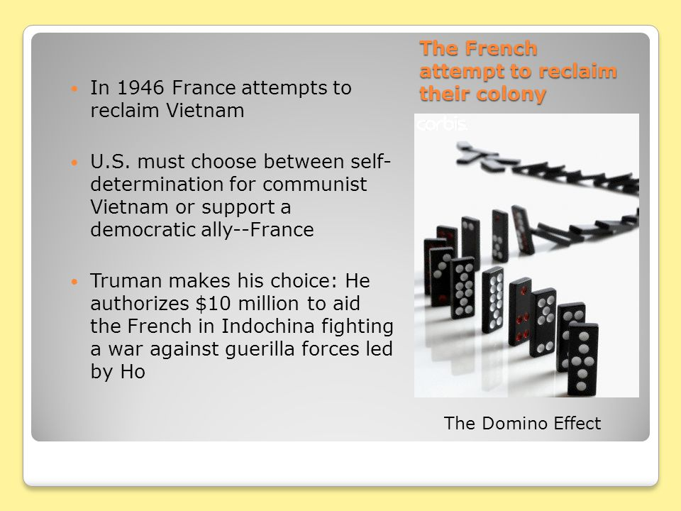 The French attempt to reclaim their colony In 1946 France attempts to reclaim Vietnam U.S. must choose between self- determination for communist Vietn