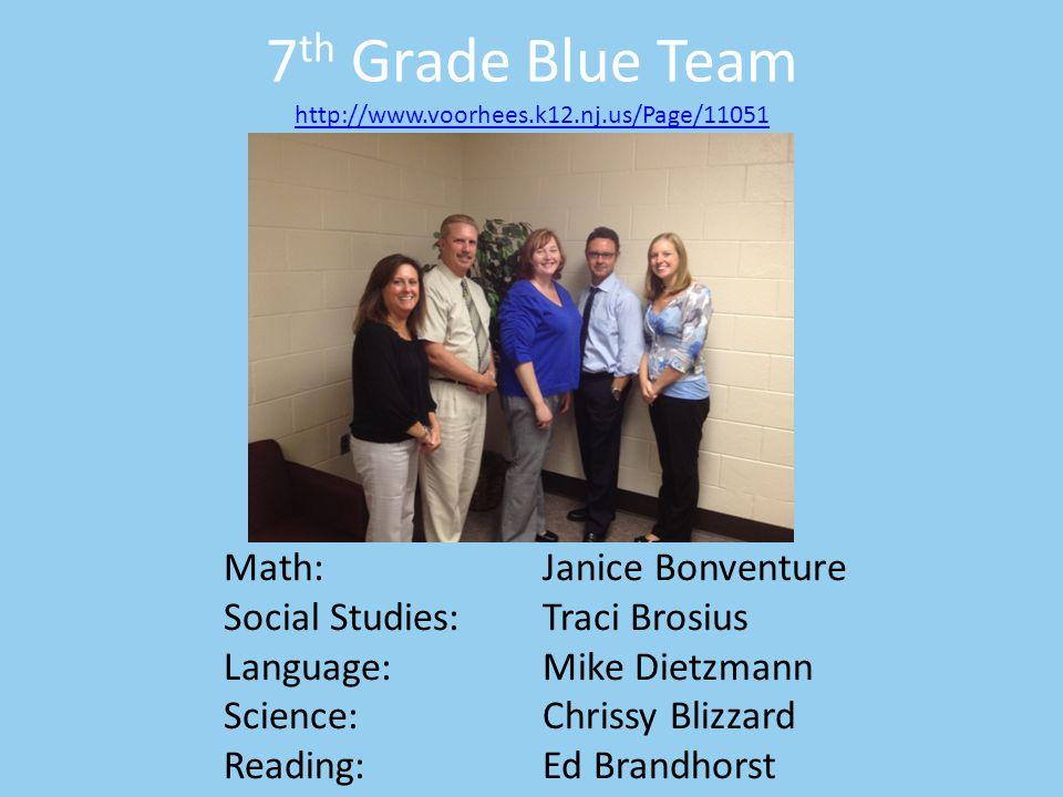 7 th Grade Blue Team http://www.voorhees.k12.nj.us/Page/11051 http://www.voorhees.k12.nj.us/Page/11051 Math:Janice Bonventure Social Studies:Traci Bro