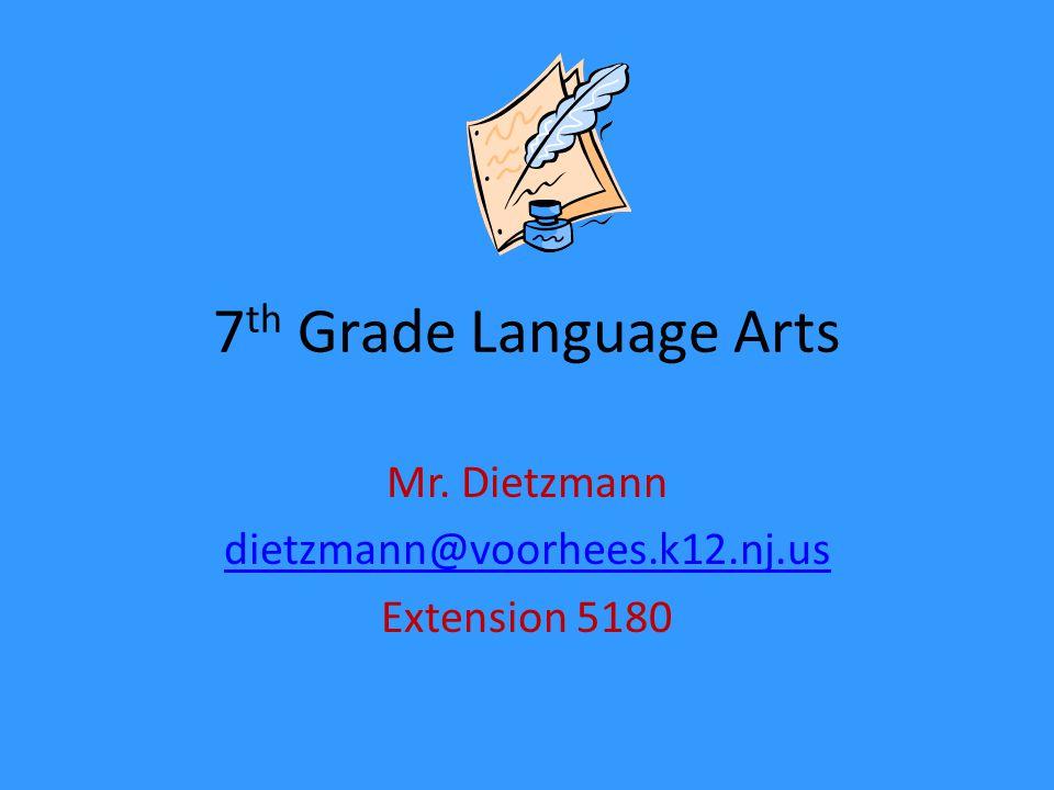 7 th Grade Language Arts Mr. Dietzmann dietzmann@voorhees.k12.nj.us Extension 5180