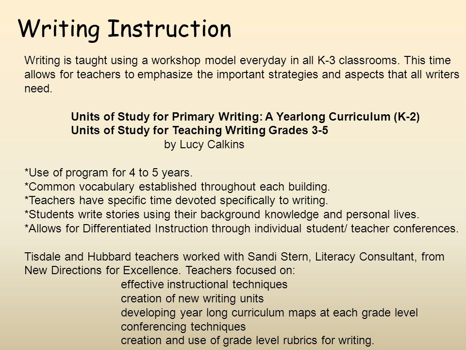 Writing Instruction Writing is taught using a workshop model everyday in all K-3 classrooms. This time allows for teachers to emphasize the important