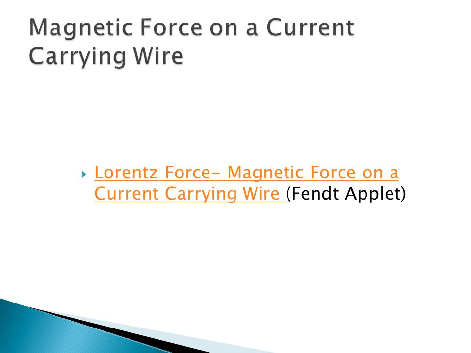  Lorentz Force- Magnetic Force on a Current Carrying Wire (Fendt Applet) Lorentz Force- Magnetic Force on a Current Carrying Wire