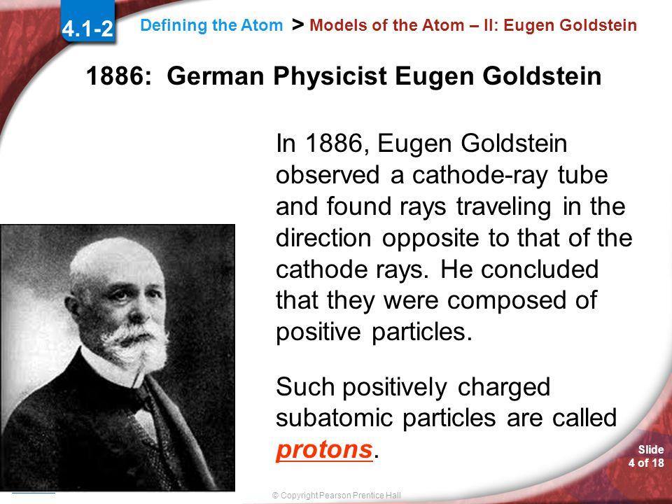 Slide 3 of 18 © Copyright Pearson Prentice Hall Defining the Atom > Models of the Atom – II: Michael Faraday 4.1-2 1839: English Chemist Michael Faraday Suggested that the structure of atoms was somehow related to electricity.
