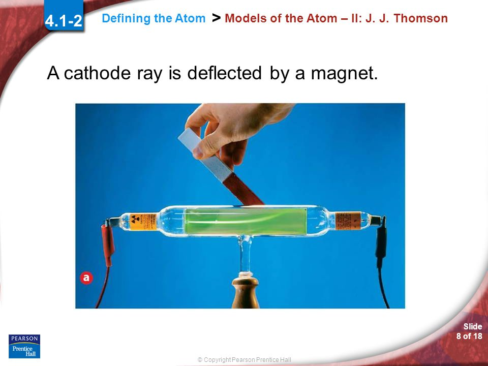 Slide 7 of 18 © Copyright Pearson Prentice Hall Defining the Atom > Models of the Atom – II: J.