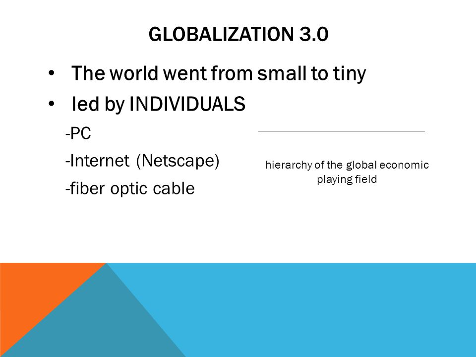 GLOBALIZATION 3.0 The world went from small to tiny led by INDIVIDUALS -PC -Internet (Netscape) -fiber optic cable hierarchy of the global economic playing field