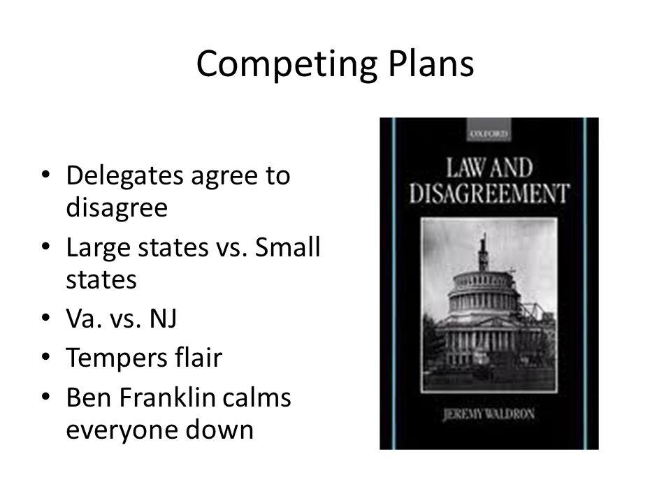 Competing Plans Delegates agree to disagree Large states vs.