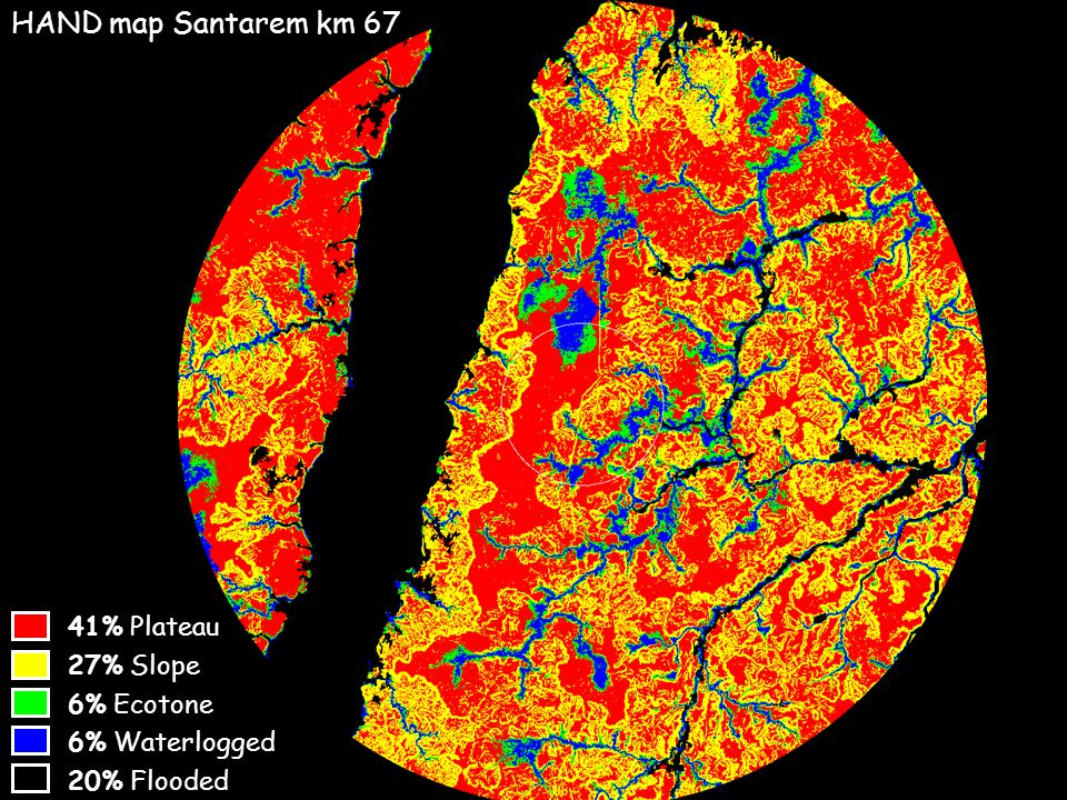 20% Flooded 6% Waterlogged 6% Ecotone 27% Slope 41% Plateau HAND map Santarem km 67