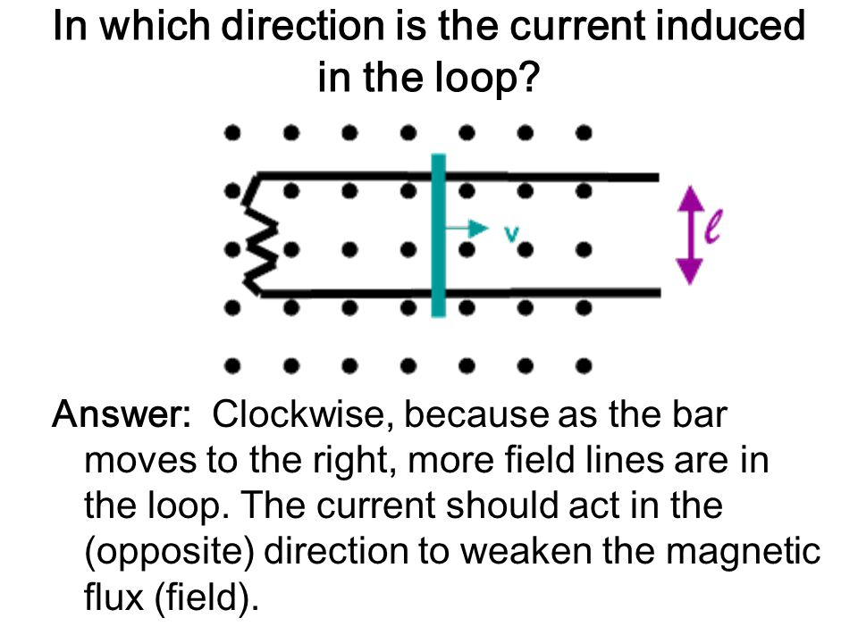 In which direction is the current induced in the loop? Answer: Clockwise, because as the bar moves to the right, more field lines are in the loop. The