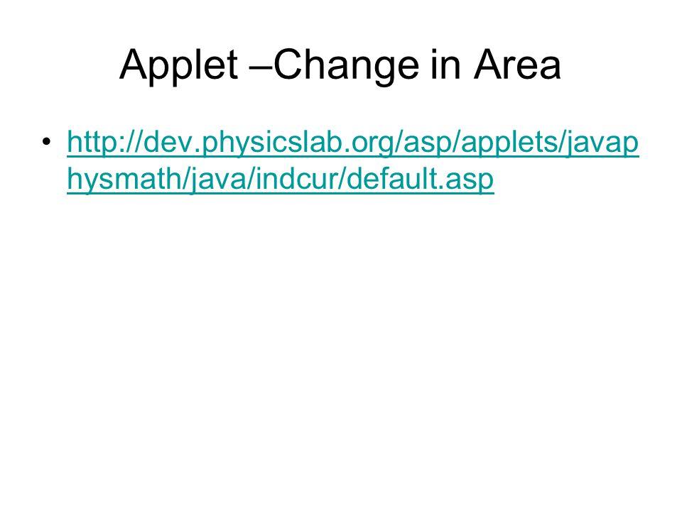 Applet –Change in Area http://dev.physicslab.org/asp/applets/javap hysmath/java/indcur/default.asphttp://dev.physicslab.org/asp/applets/javap hysmath/