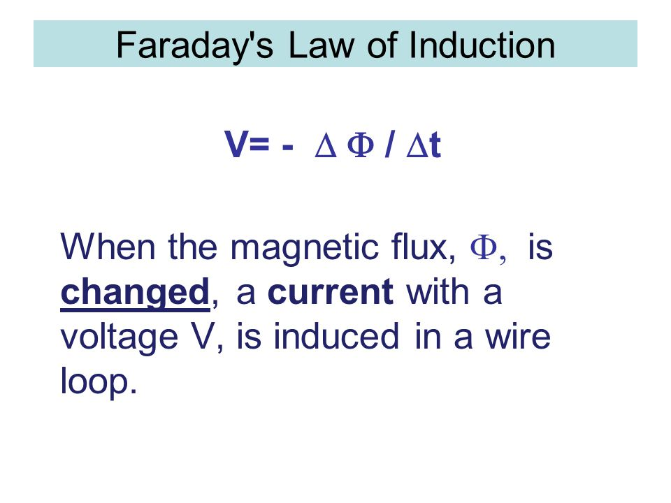 Faraday's Law of Induction V= -  /  t When the magnetic flux,  is changed, a current with a voltage V, is induced in a wire loop.