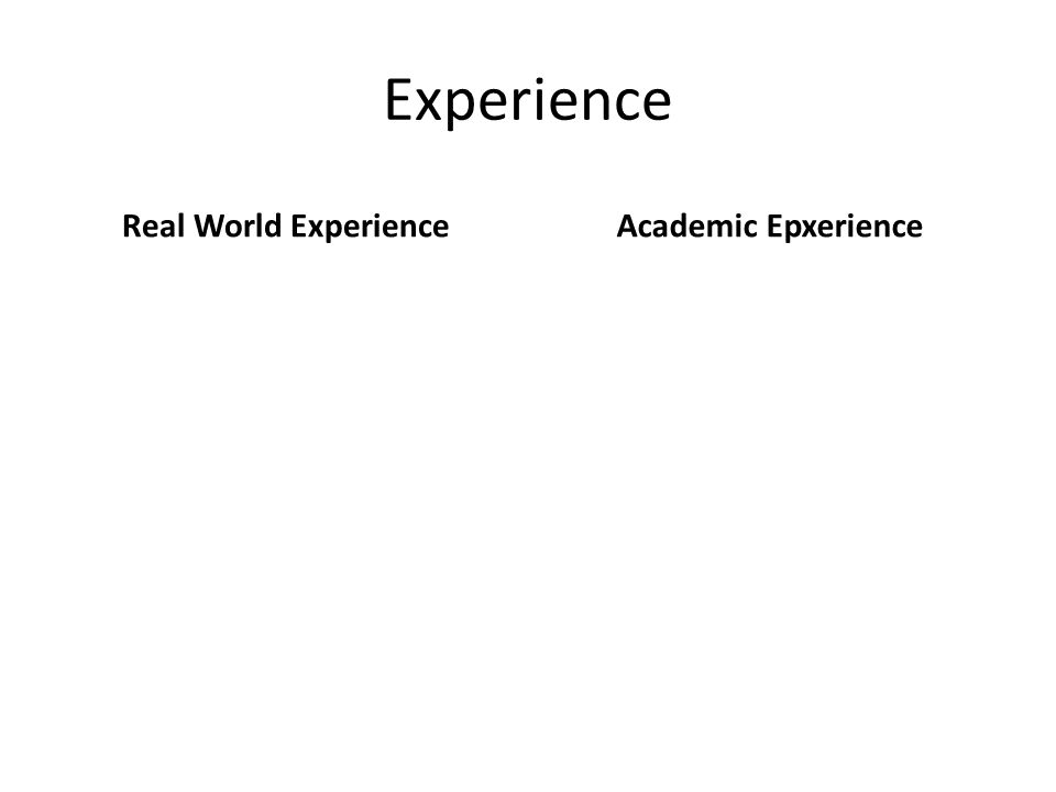 Experience Real World ExperienceAcademic Epxerience
