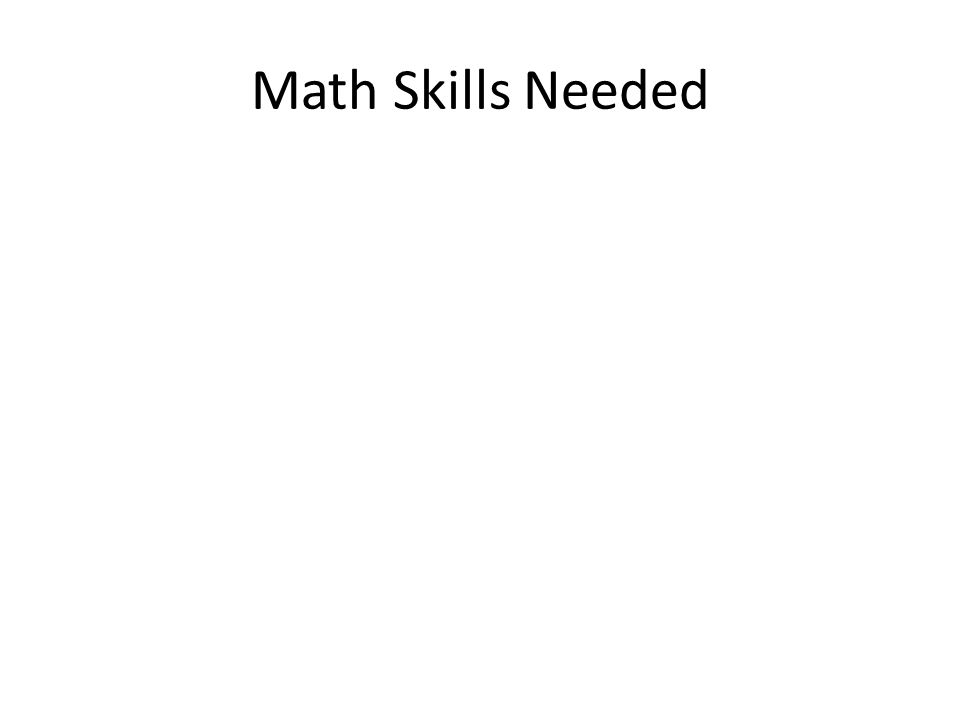 Math Skills Needed