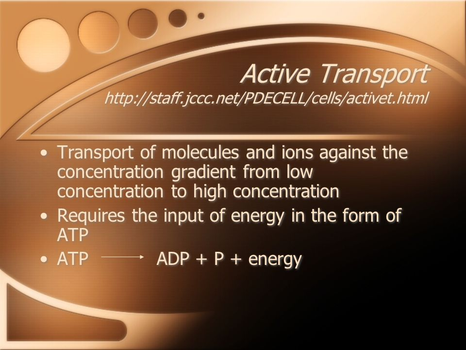 Active Transport   Transport of molecules and ions against the concentration gradient from low concentration to high concentration Requires the input of energy in the form of ATP ATP ADP + P + energy Transport of molecules and ions against the concentration gradient from low concentration to high concentration Requires the input of energy in the form of ATP ATP ADP + P + energy