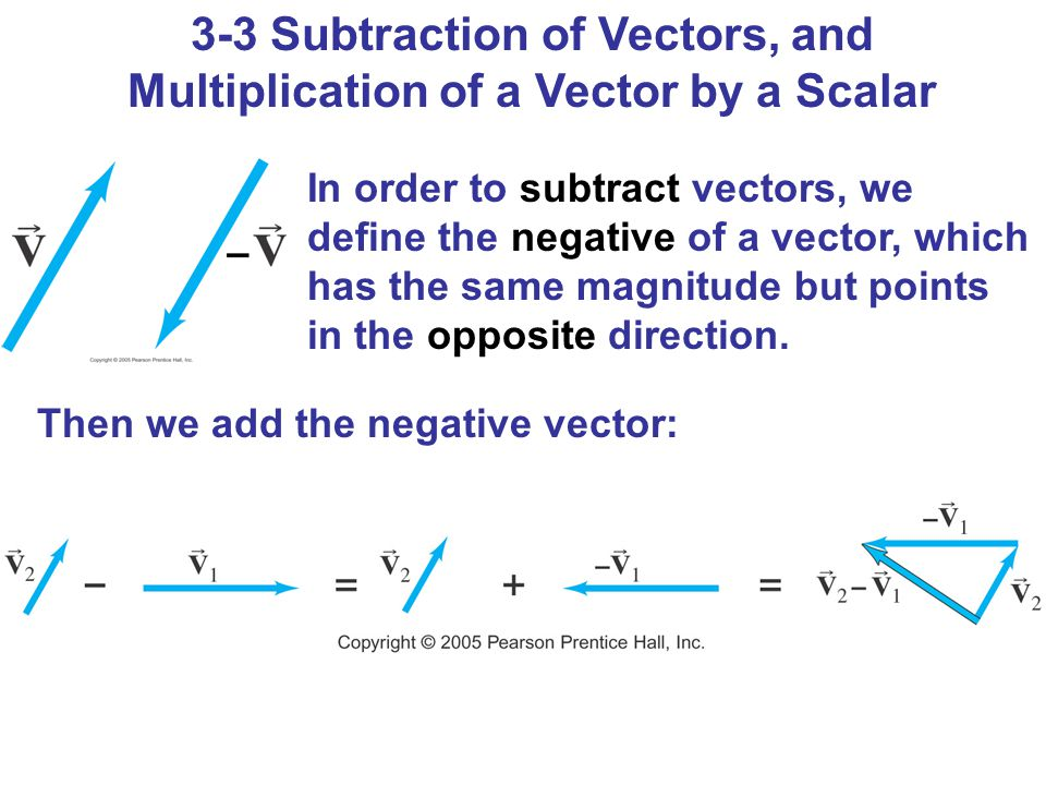 3-3 Subtraction of Vectors, and Multiplication of a Vector by a Scalar In order to subtract vectors, we define the negative of a vector, which has the