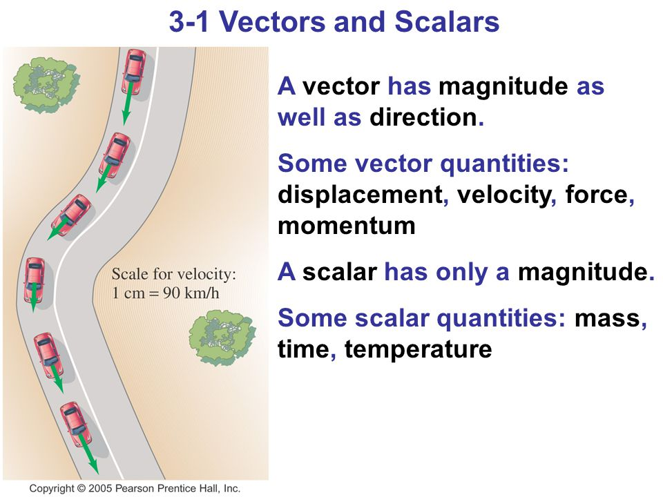3-1 Vectors and Scalars A vector has magnitude as well as direction. Some vector quantities: displacement, velocity, force, momentum A scalar has only