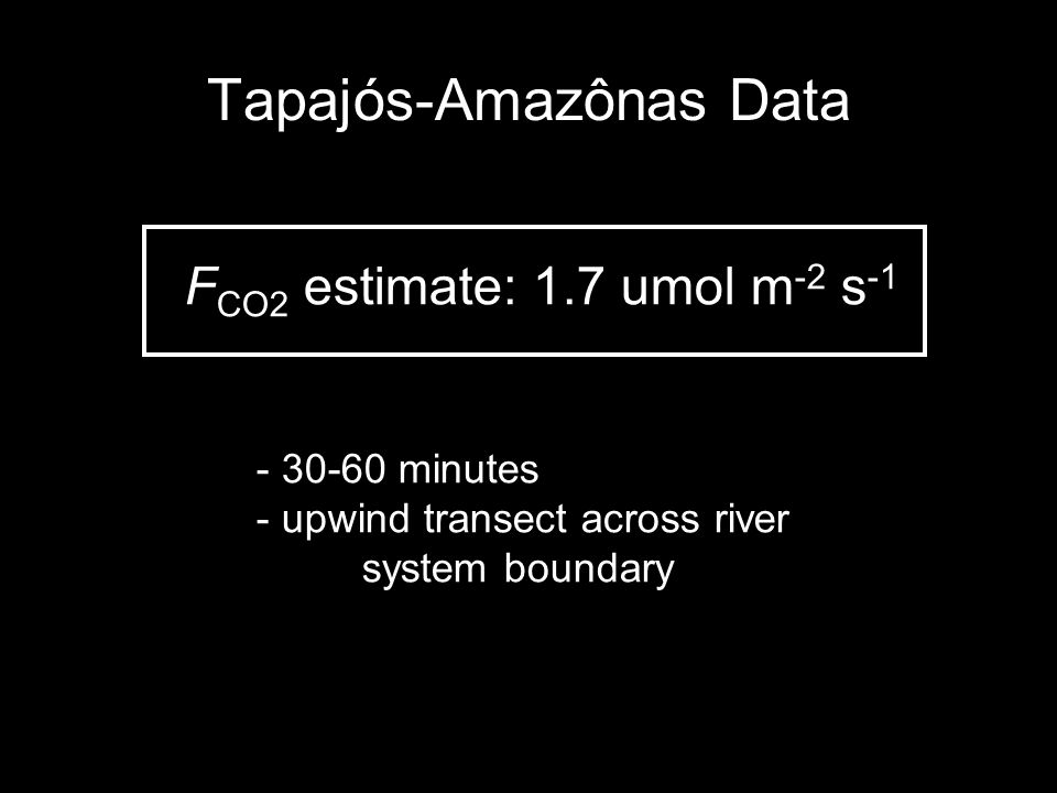 Tapajós-Amazônas Data F CO2 estimate: 1.7 umol m -2 s -1 - 30-60 minutes - upwind transect across river system boundary