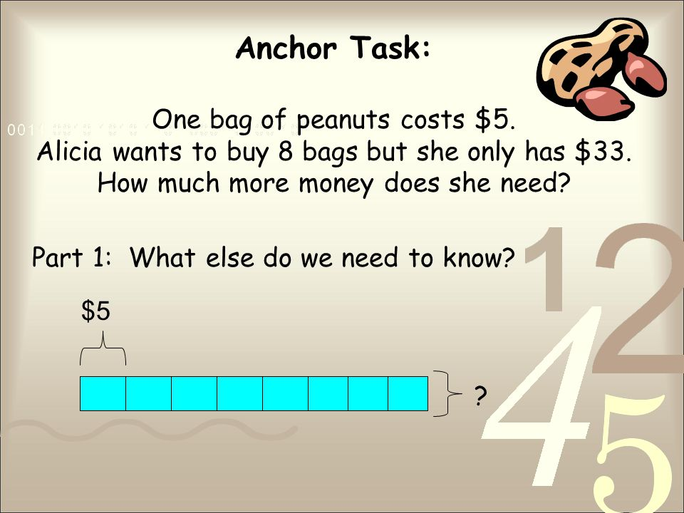 Anchor Task: One bag of peanuts costs $5. Alicia wants to buy 8 bags but she only has $33.