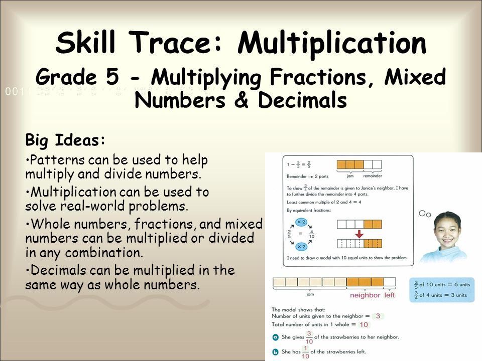 Skill Trace: Multiplication Grade 5 - Multiplying Fractions, Mixed Numbers & Decimals Big Ideas: Patterns can be used to help multiply and divide numbers.