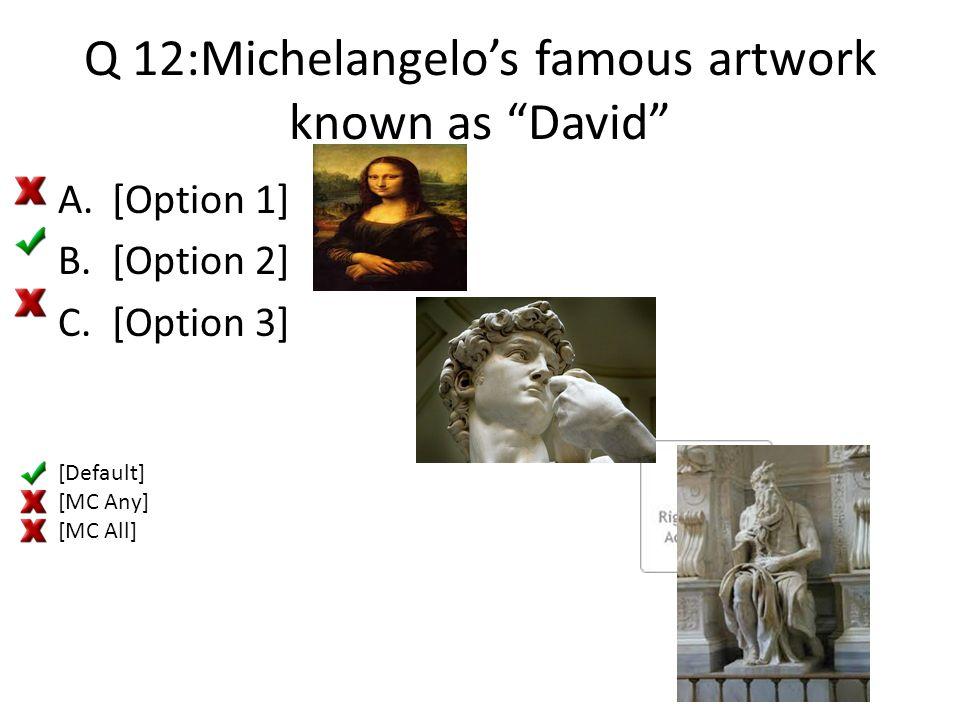 "Q 12:Michelangelo's famous artwork known as ""David"" A.[Option 1] B.[Option 2] C.[Option 3] [Default] [MC Any] [MC All]"