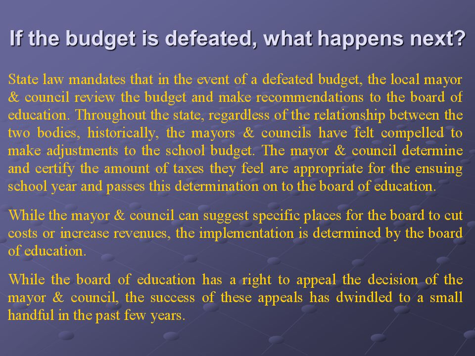 If the budget is defeated, what happens next?