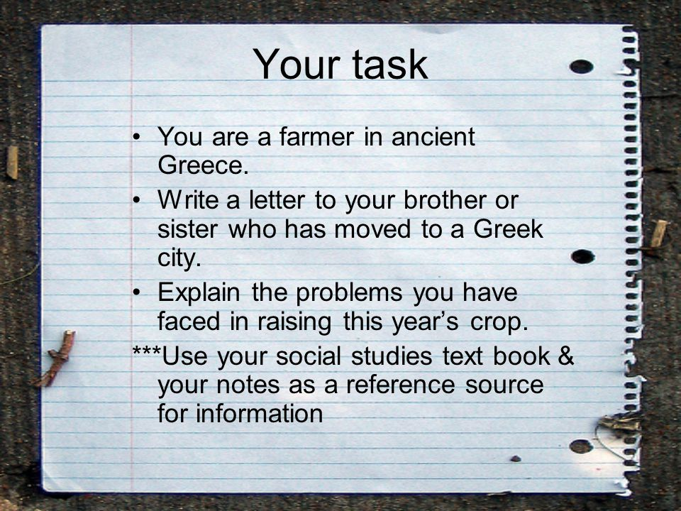 Your task You are a farmer in ancient Greece.