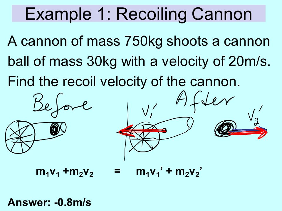 Example 1: Recoiling Cannon A cannon of mass 750kg shoots a cannon ball of mass 30kg with a velocity of 20m/s. Find the recoil velocity of the cannon.