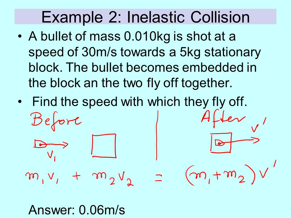 Example 2: Inelastic Collision A bullet of mass 0.010kg is shot at a speed of 30m/s towards a 5kg stationary block. The bullet becomes embedded in the