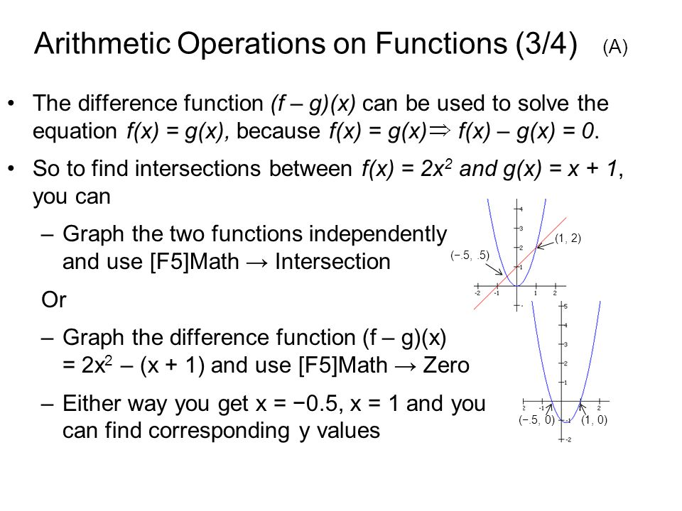 Arithmetic Operations on Functions (3/4) (A) The difference function (f – g)(x) can be used to solve the equation f(x) = g(x), because f(x) = g(x) f(x) – g(x) = 0.