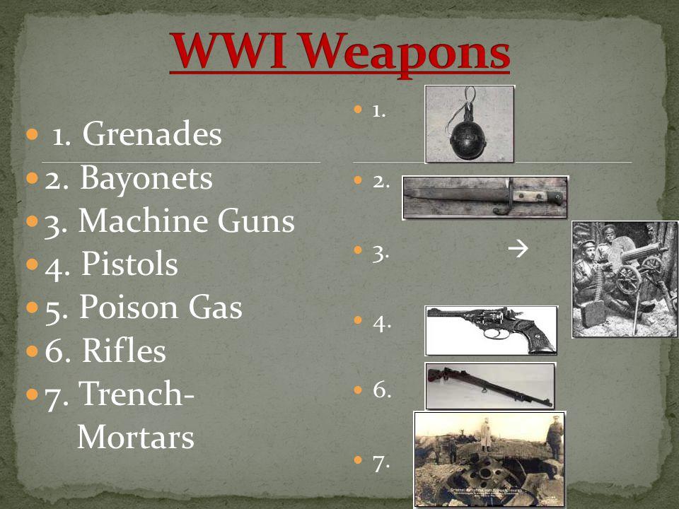 1. Grenades 2. Bayonets 3. Machine Guns 4. Pistols 5. Poison Gas 6. Rifles 7. Trench- Mortars 1. 2. 3.  4. 6. 7.