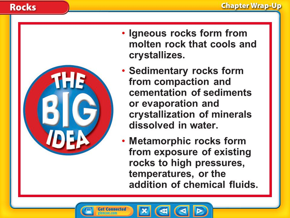 The BIG Idea Igneous rocks form from molten rock that cools and crystallizes. Sedimentary rocks form from compaction and cementation of sediments or e