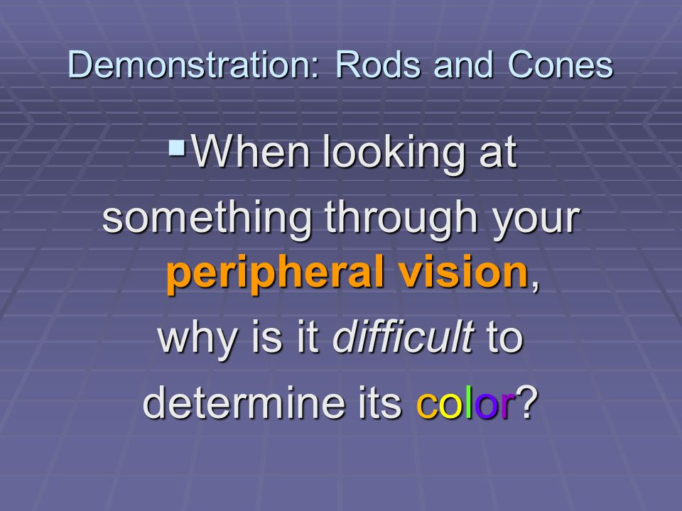 Demonstration: Rods and Cones  When looking at something through your peripheral vision, why is it difficult to determine its color