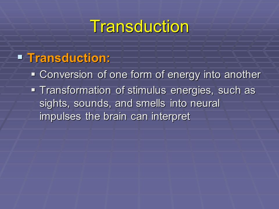 Transduction  Transduction:  Conversion of one form of energy into another  Transformation of stimulus energies, such as sights, sounds, and smells into neural impulses the brain can interpret