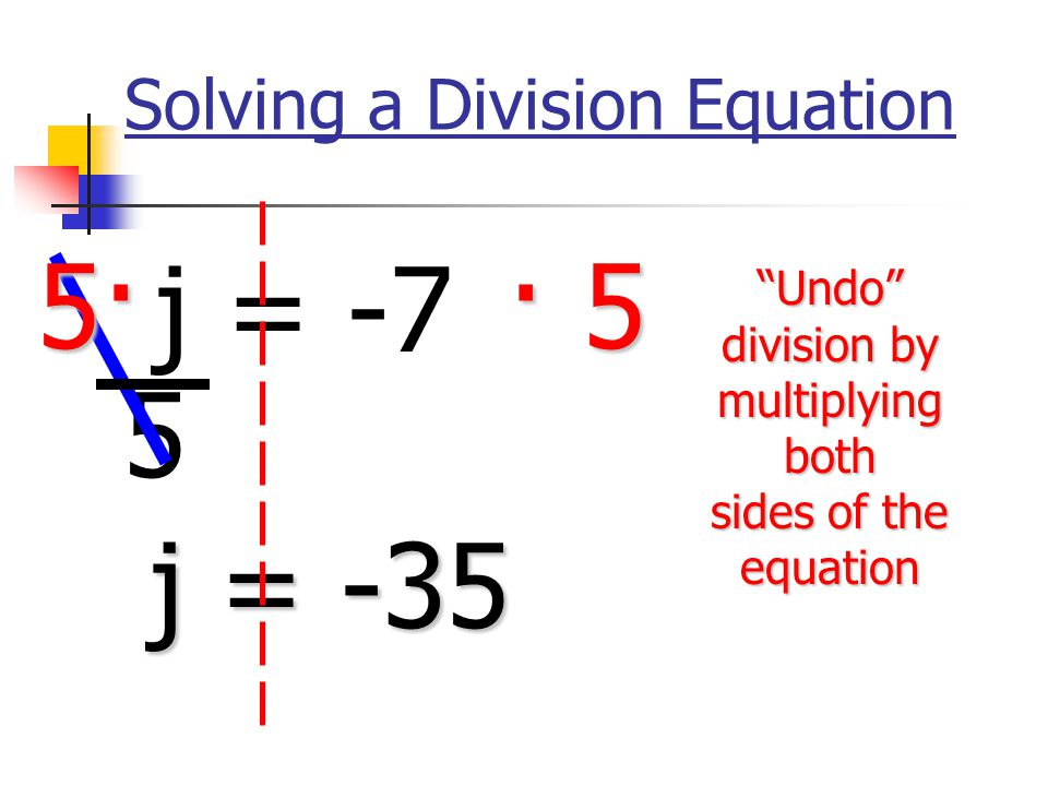 Solving a Division Equation j = -7 5 5· · 5 j = -35 Undo division by multiplying both sides of the equation