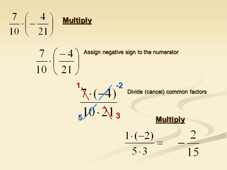 Multiply Assign negative sign to the numerator Divide (cancel) common factors Multiply