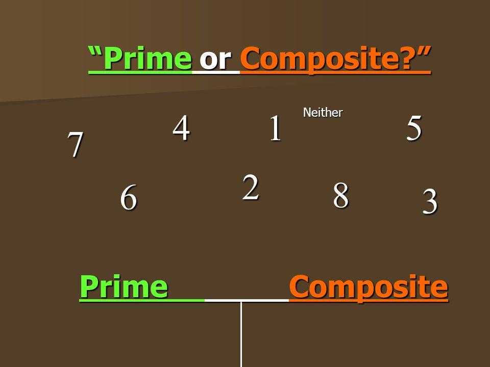 """""""Prime or Composite?"""" 6 4 7 8 2 5 Prime C Composite 3 1Neither"""