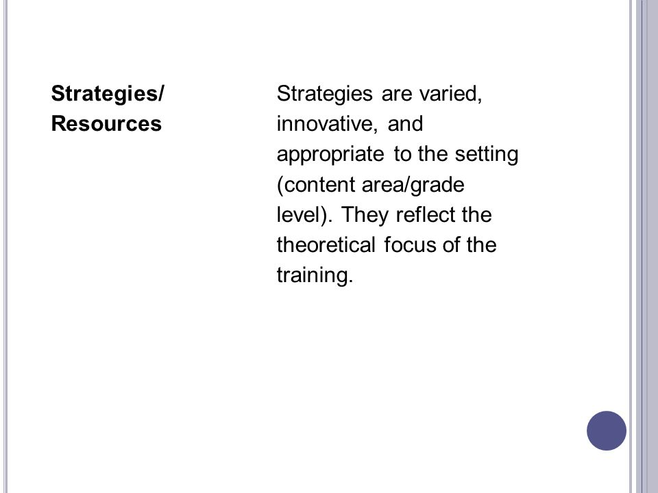 Strategies/ Resources Strategies are varied, innovative, and appropriate to the setting (content area/grade level).