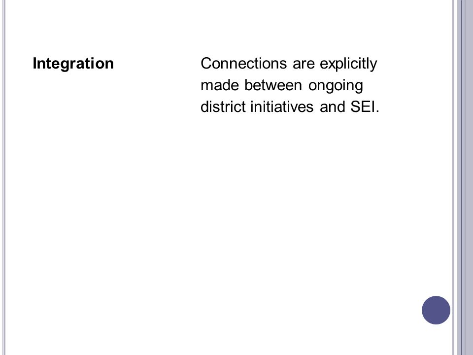 IntegrationConnections are explicitly made between ongoing district initiatives and SEI.
