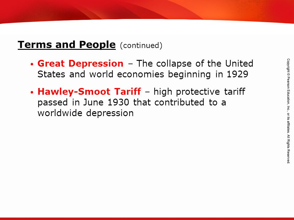 TEKS 8C: Calculate percent composition and empirical and molecular formulas. Terms and People (continued) Great Depression – The collapse of the Unite