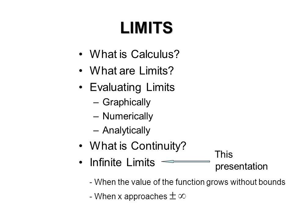 LIMITS What is Calculus? What are Limits? Evaluating Limits –Graphically –Numerically –Analytically What is Continuity? Infinite Limits This presentat