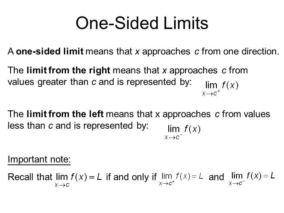 One-Sided Limits A one-sided limit means that x approaches c from one direction. The limit from the right means that x approaches c from values greate