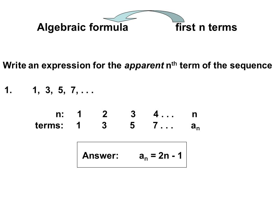 Write an expression for the apparent n th term of the sequence 2.