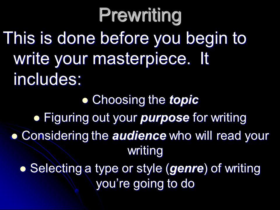 Prewriting = TPAG (topic, purpose, audience, genre)