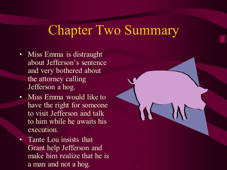 Chapter Two Summary Miss Emma is distraught about Jefferson's sentence and very bothered about the attorney calling Jefferson a hog. Miss Emma would l