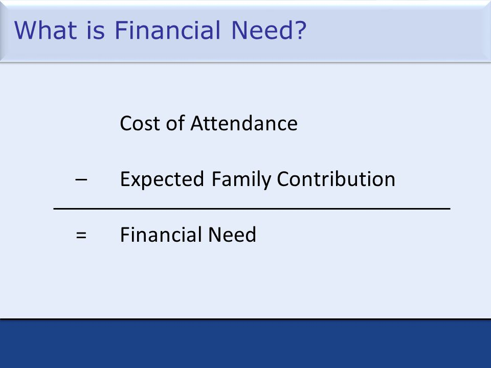What is Financial Need? Cost of Attendance – Expected Family Contribution = Financial Need