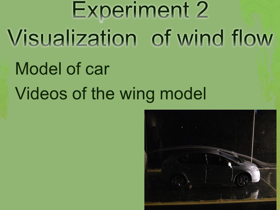 Model of car Videos of the wing model