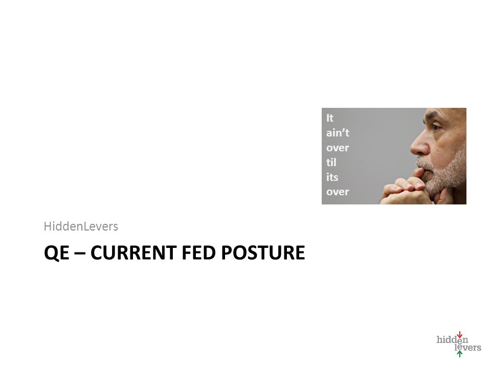 QE – CURRENT FED POSTURE HiddenLevers It ain't over til its over